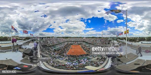 This 360 image shows a general viewof the Roland Garros central court Philippe Chatrier during the game beetwen Russia's Karen Khachanov and...