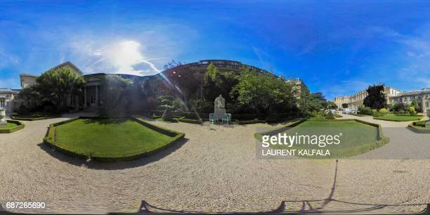 This 360 image shows the garden of the Palais Bourbon, the French National Assembly lower-house on May 23, 2017 in Paris. Legislative elections are...