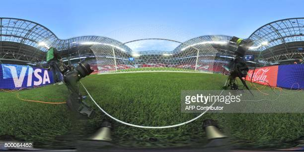 This 360 image shows the Kazan Arena Stadium in Kazan ahead of the 2017 FIFA Confederations Cup group B football match between Germany and Chile on...