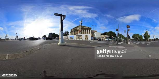 This 360 image shows the Palais Bourbon, the French National Assembly lower-house on May 23, 2017 in Paris. Legislative elections are scheduled to...