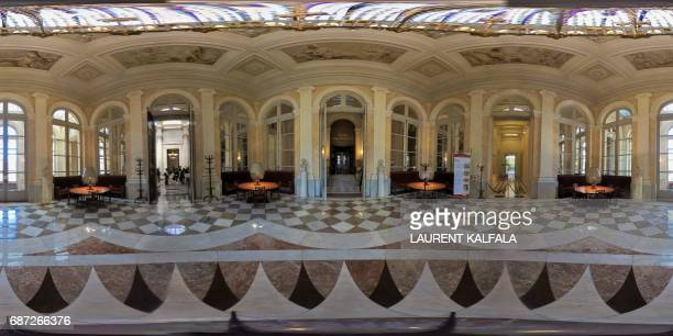 This 360 image shows the Pujol room at the Palais Bourbon, the French National Assembly lower-house on May 23, 2017 in Paris. Legislative elections...