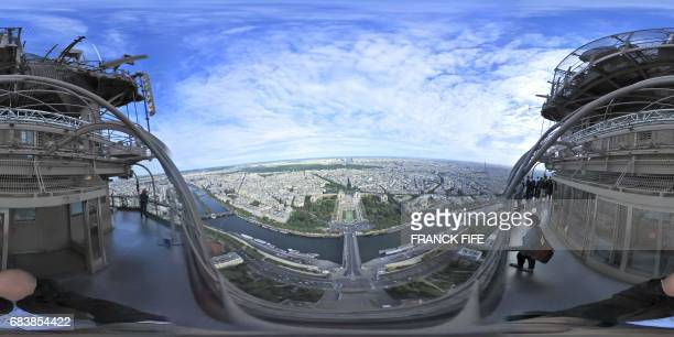 This 360 image taken from the top of the Eiffel Tower on May 15 shows the Esplanade du Trocadero, the proposed venue for archery events for the 2024...