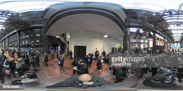 This 360 image taken on May 15 shows a part of the Cite du Cinema in SaintDenis where the Olympic Village is planned to be installed as the...