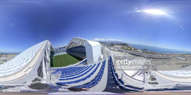 This 360 photo image taken on May 17 2018 shows a general view of the Fisht Olympic Stadium in Sochi ahead of the Russia 2018 World Cup football...