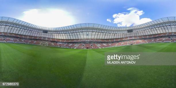 This 360 photo image taken on May 23 2018 shows a general view of the Luzhniki Stadium in Moscow ahead of the Russia 2018 World Cup football...