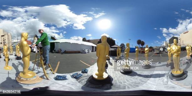 This 360 photo shows Oscar statues being prepared for the 89th Annual Academy Awards, February 22, 2017 in Hollywood, California. The 2017 Oscars,...