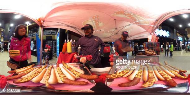This 360 photo shows Pinks hot dogs with the name of each of the nine Oscar nominated films for Best Pictures Award at the 2017 Oscars February 23...