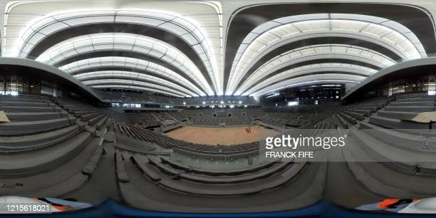 This 360 photo shows the construction work of the newly built roof of the Philippe Chatrier central tennis court on May 27 2020 at the Roland Garros...