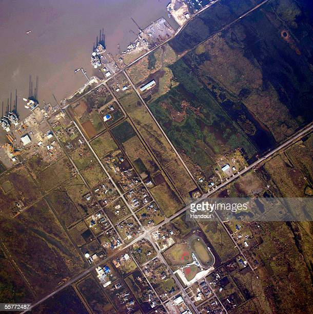 This aerial handout photo made available by the National Oceanic and Atmospheric Administration shows destruction caused by Hurricane Rita on...