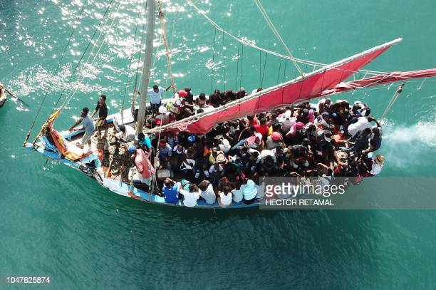 This aerial image shows a view of a ship with passengers from PortdePaix seen on October 8 as they travel to Ile de La Tortue The PortdePaix/La...