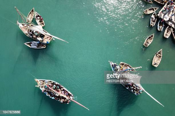 This aerial image shows a view of ships with passengers from PortdePaix seen on October 8as they travel to Ile de La Tortue The PortdePaix/La Tortue...