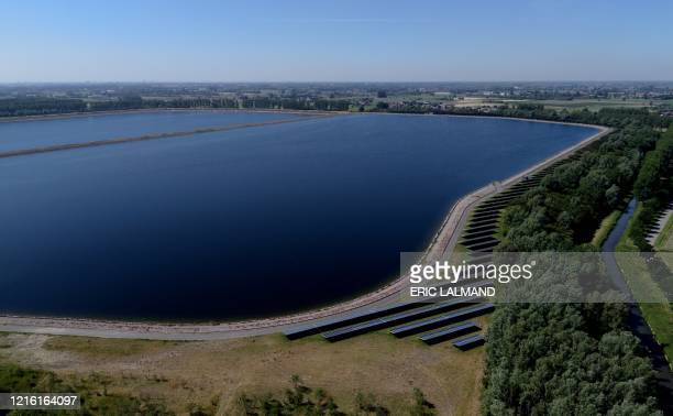 This aerial image shows a water reservoir of De Watergroep in Kluizen, Evergem, Friday 29 May 2020. Due to the extremely dry months, the ground water...