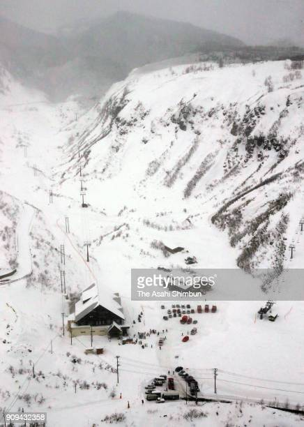 This aerial image shows the Kusatsu International Ski Resort on January 23 2018 in Kusatsu Japan KusatsuShirane a 2160meter volcano erupted in the...