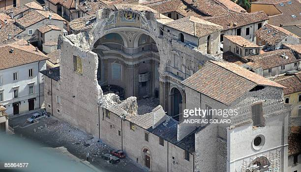 This aerial image taken on April 8, 2009 shows a view of a church ofthe Abruzzo capital L'Aquila, epicentre of a violent earthquake two days ago....