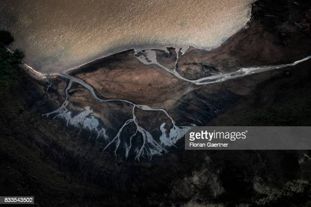 This aerial photo shows a dirty lake on August 04 2017 in Schwarzheide Germany