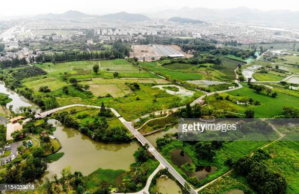 This aerial photo shows a general view of the Liangzhu City in Hangzhou in China's eastern Zhejiang province on July 6 2019 The UNESCO World Heritage...