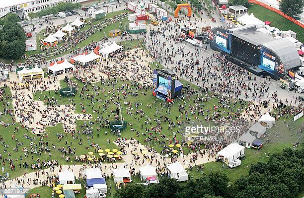 This aerial photo shows a view of the 'Donauinsel' where a music festival is being staged on June 26 2009 in Vienna Many thousands of people are...