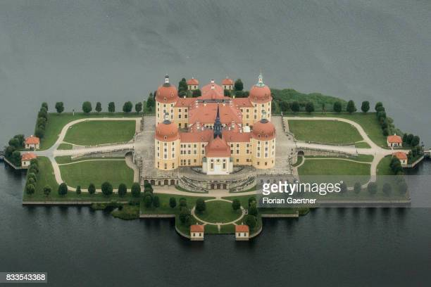 This aerial photo shows castel of Moritzburg on August 04 2017 in Dresden Germany