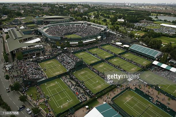 This aerial photo shows play on fourth day of the Wimbledon Tennis Championships in Wimbledon in south London 28 June 2007 AFP PHOTO / GLYN KIRK