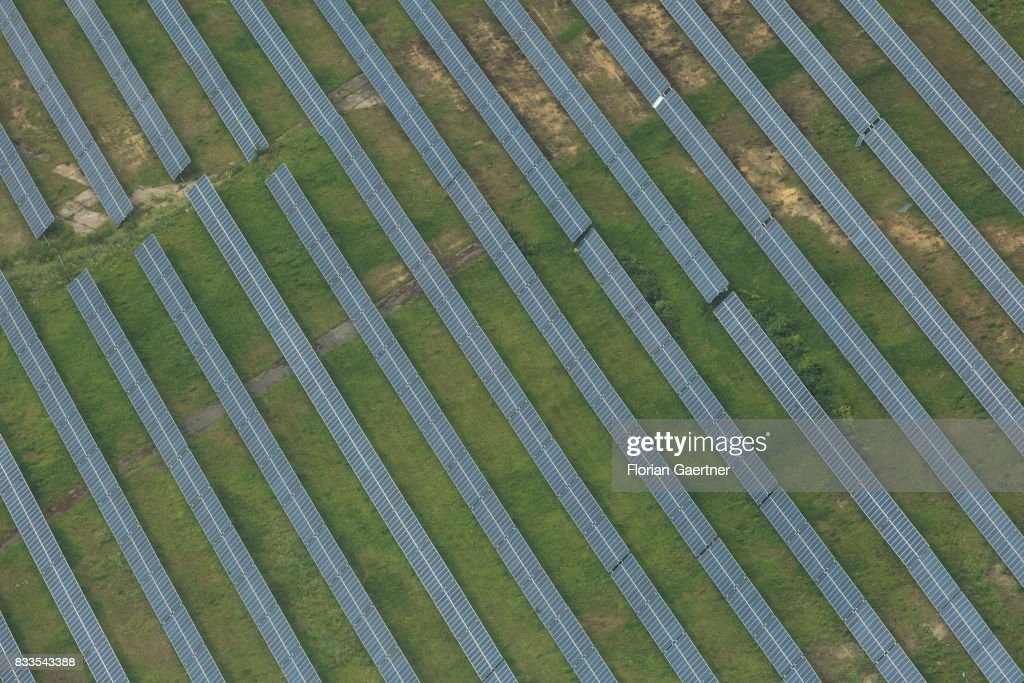 This aerial photo shows solar fields on August 04, 2017 in Senftenberg, Germany..