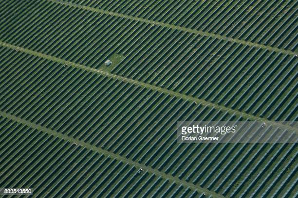 This aerial photo shows solar fields on August 04 2017 in Senftenberg Germany