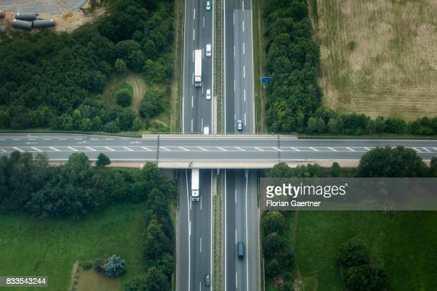 This aerial photo shows the german Highway A4 on August 04 2017 in Ohorn Germany
