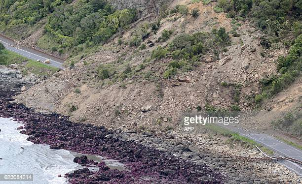 This aerial photo taken and received on November 14 2016 shows earthquake damage to State Highway One near Ohau Point on the South Island's east...