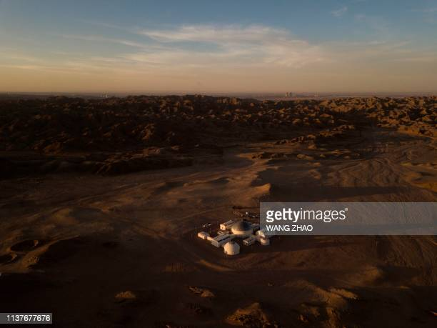 "This aerial photo taken on April 16, 2019 shows ""Mars Base 1"", a C-Space Project, in the Gobi desert, some 40 kilometres from Jinchang in China's..."
