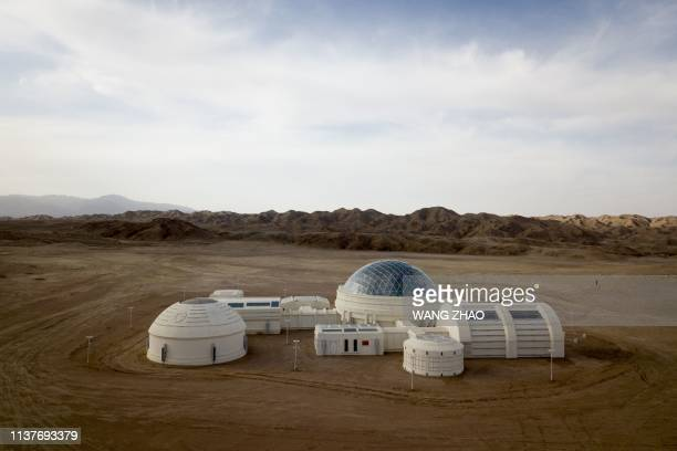 "This aerial photo taken on April 17, 2019 shows ""Mars Base 1"", a C-Space Project, in the Gobi desert, some 40 km from Jinchang in China's northwest..."