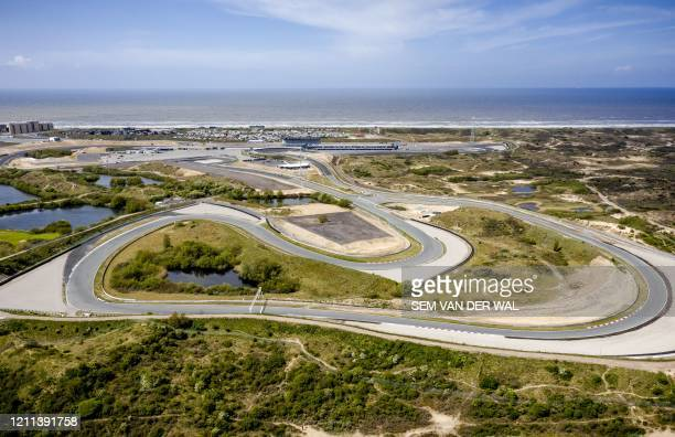 This aerial photo taken on April 30 shows Dutch Zandvoort circuit, in Zandvoort, the Netherlands. - The Formula 1 Grand Prix was supposed to be held...