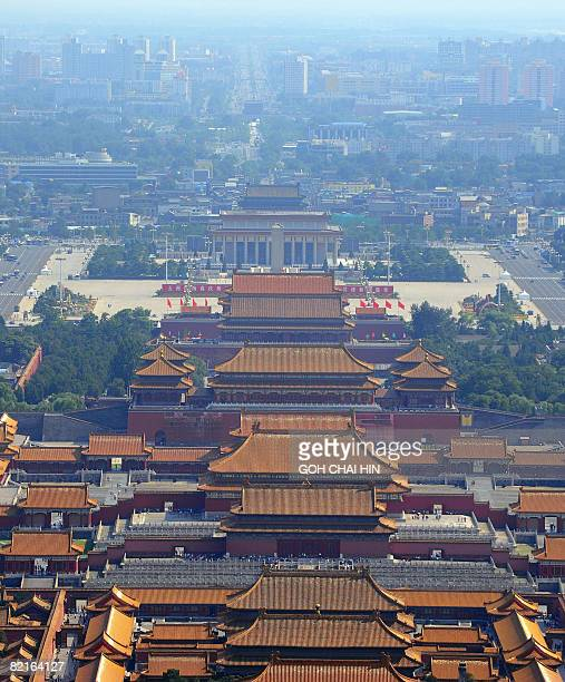 This aerial photo taken on August 2 2008 shows Beijing's Forbidden City and Tiananmen Square in the Chinese capital on August 2 2008 Weather...