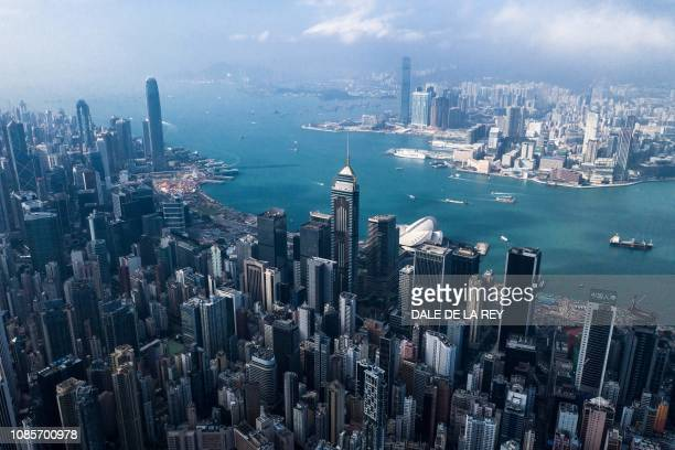 This aerial photo taken on December 19, 2018 shows a general view of the skyline of Hong Kong.