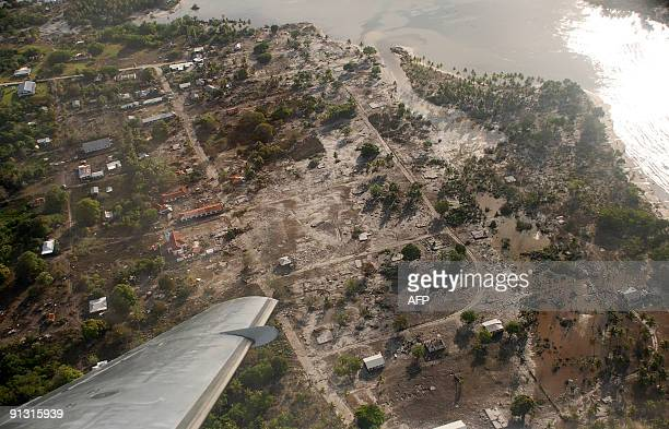 This aerial photo taken on September 30, 2009 shows the devastation in the main town in Niuatoputapu, Hihifo, Tongo, caused by a tsunami generated by...