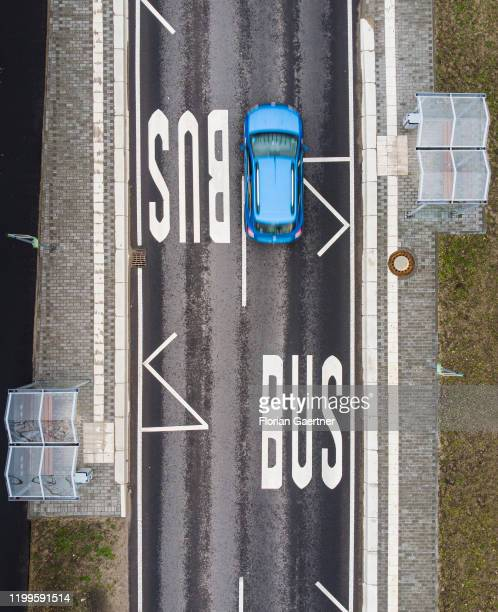 This aerial photograph shows a bus stop in the rural area on February 07 2020 in Langerwisch Germany