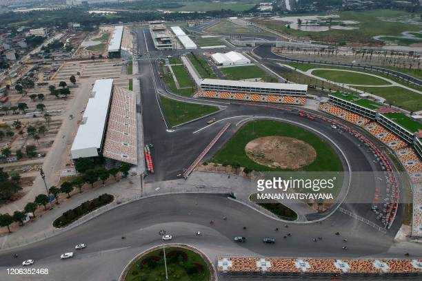 This aerial photograph shows a general view of the Formula One Vietnam Grand Prix race track site in Hanoi on March 10, 2020.