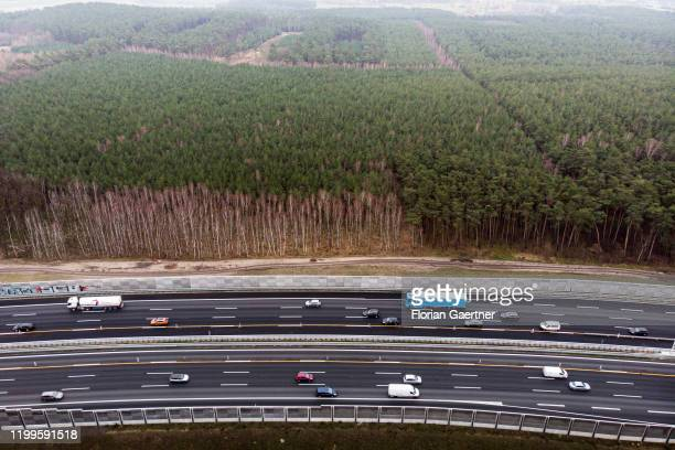 This aerial photograph shows the highway A10 on February 07 2020 in Langerwisch Germany