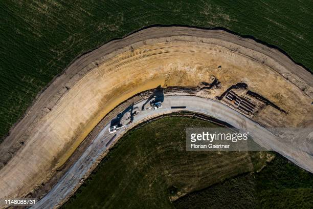 This aerial photograph shows two digger on a construction site on June 02 2019 in Ober Prauske Germany
