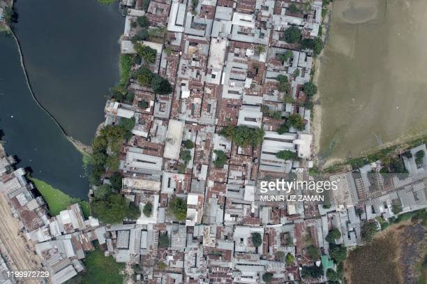 This aerial photograph taken on February 8 2020 shows a general view of Daulatdia in Rajbari District 110 kms west of Dhaka Daulatdia is one of about...