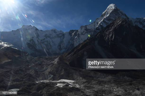 This aerial photograph taken on November 22, 2018 shows a glacier in the Everest region of the Solukhumbu district, some 140 km northeast of...