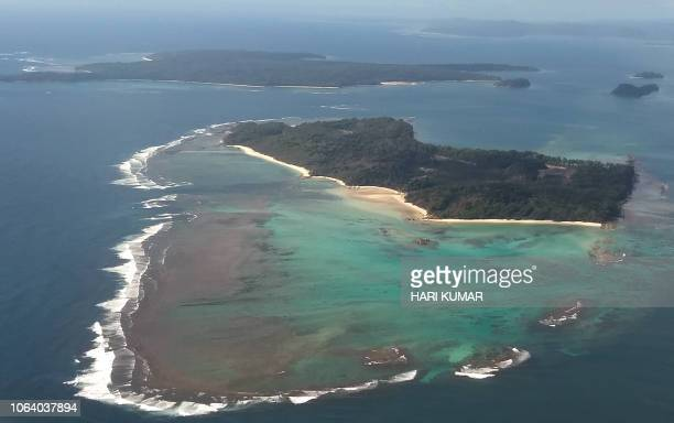 This aerial photograph taken on September 22 2018 shows Boat Island in the Andaman Islands a remote Indian archipelago in the Bay of Bengal