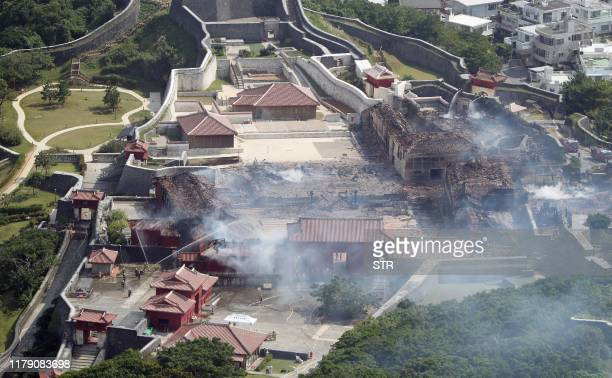 This aerial picture shows Shuri Castle after a fire ripped through the historic site in Naha Japan's southern Okinawa prefecture on October 31 2019 A...
