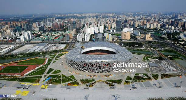 "This aerial picture shows the National Stadium , also known as the ""Bird's Nest,"" on the Olympic Green ahead of the Beijing 2008 Olympic Games on..."