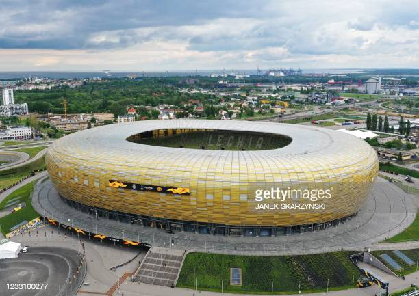 This aerial picture taken in Gdansk, Poland on May 25 shows a view of the Gdansk Stadium, on the eve of the UEFA Europa League Final match Villarreal...