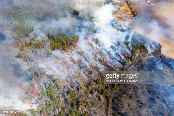 This aerial picture taken on April 12 2020 shows a forest fire burning at a 30kilometer Chernobyl exclusion zone in Ukraine not far from the nuclear...