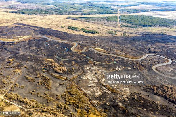 This aerial picture taken on April 12 2020 shows the aftermath of a forest fire at a 30kilometer Chernobyl exclusion zone in Ukraine not far from the...