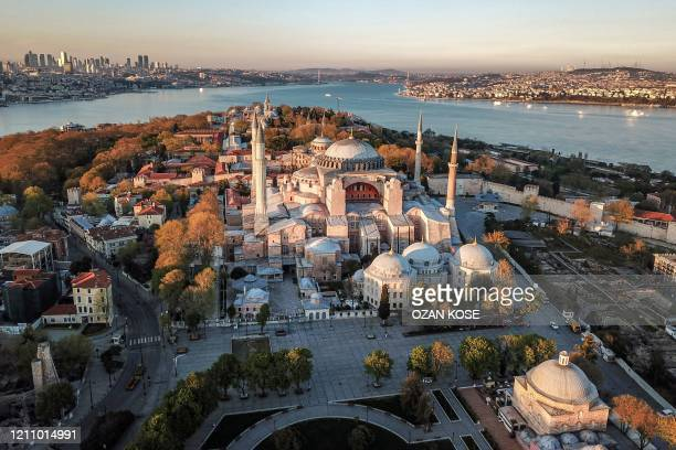 This aerial picture taken on April 25, 2020 shows the Hagia Sophia museum in Istanbul, as Turkish government announced a four-day curfew to prevent...
