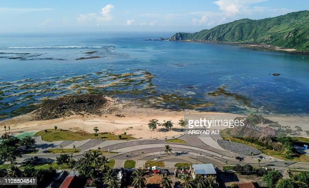 This aerial picture taken on February 23, 2019 shows the Mandalika coastal development project, which is the proposed site of a new MotoGP motorbike...