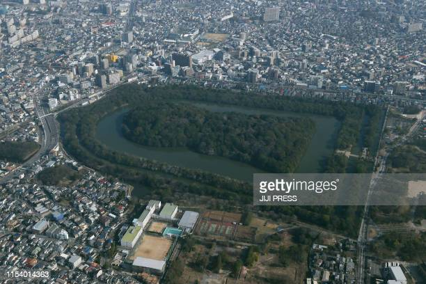 This aerial picture taken on January 16 2018 shows the mausoleum that is believed to be Emperor Nintoku's in Sakai Osaka Prefecture The UNESCO World...