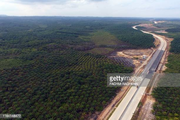 This aerial picture taken on July 31, 2019 by news outlet Tribun Kaltim shows a view of the area around Samboja, Kutai Kartanegara, one of two...