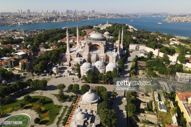 This aerial picture taken on June 28 2020 in Istanbul shows Hagia Sophia museum in Istanbul Turkey's top court is due on July 2 2020 to deliver a...